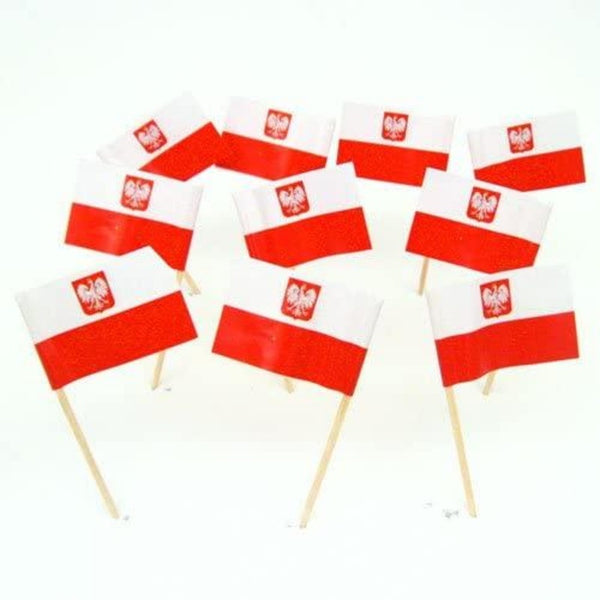 small poland flag with coat of arms on a wooden stick