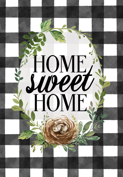 Gingham Home Sweet Home Garden Flag