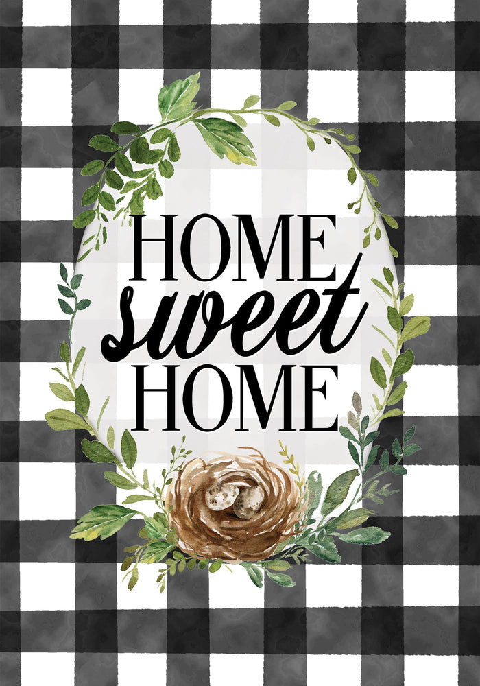Gingham Home Sweet Home Banner Flag