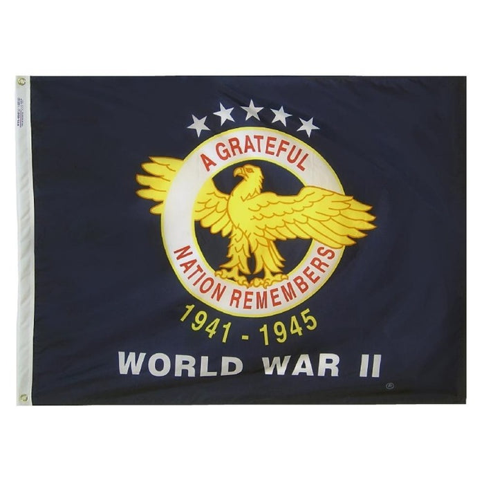 3X4 FOOT INCH NYLON WWII COMMEMORATIVE FLAG