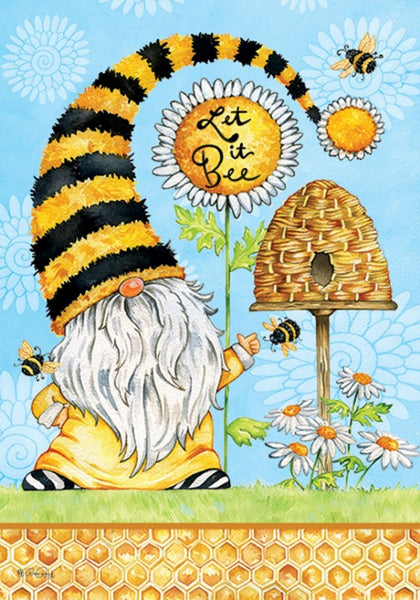 Gnome & Bees Decorative Garden Flag