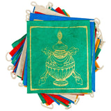 prayer flag set with a gold pot on the front