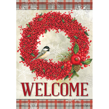 WINTERBERRY WELCOME DECORATIVE FLAGS