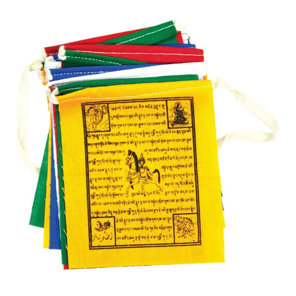 PRAYER FLAG SET WITH HORSE AND TIBETAN WRITING
