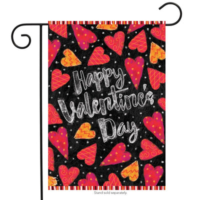 "black flag with pink and orange hearts and the text ""happy valentine's day"""