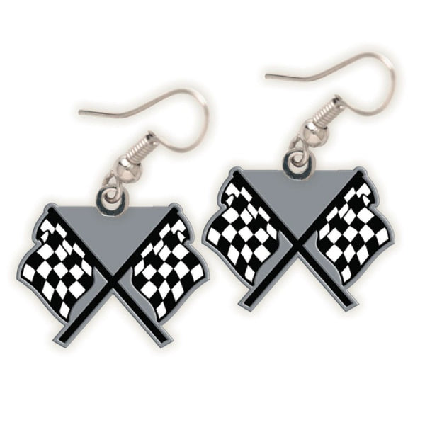 dual checkered flags on posts earring pair