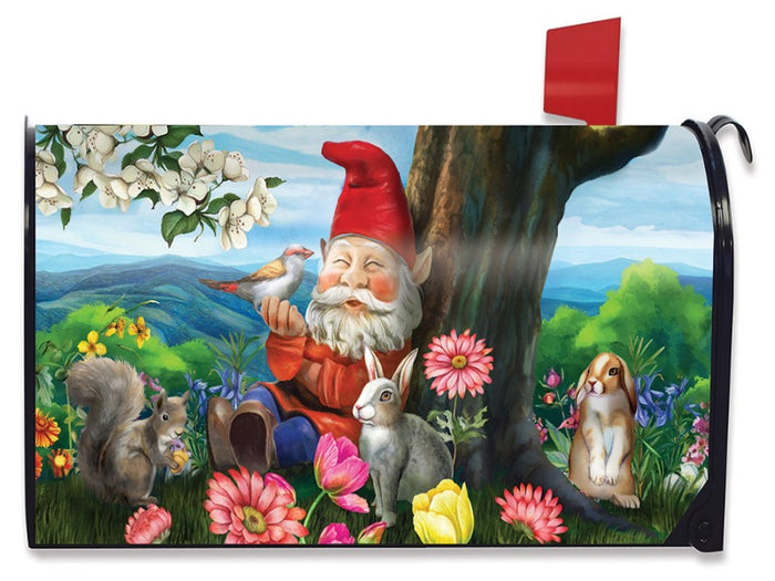 gnome sitting under a tree with rabbits and flowers