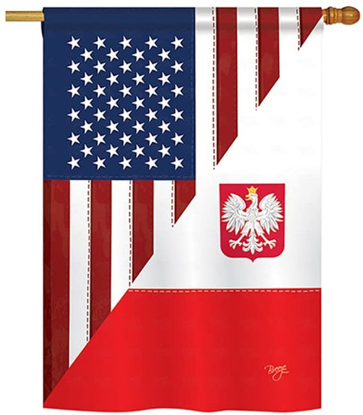 flag with half of the polish flag and half of the us flag