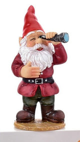 small gnome figurine holding a spyglass to his left eye