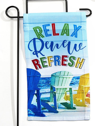 "mini garden flag with beach chairs and text ""relax renew refresh"" with mini stand"