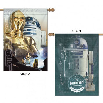 DISNEY STAR WARS R2-D2 & C-3PO 2-SIDED BANNER
