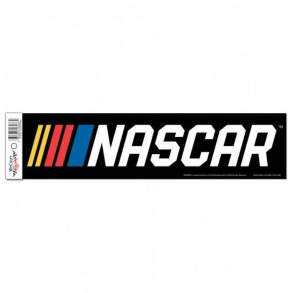 black bumper sticker with the nascar logo