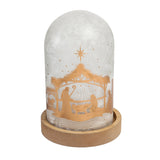 nativity lighted led cloche tabletop decorative