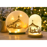 Glass Nativity with Light Up LED Wooden Base