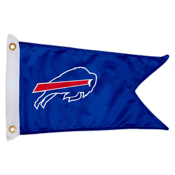 blue v shaped flag with the buffalo bills charging logo in the center