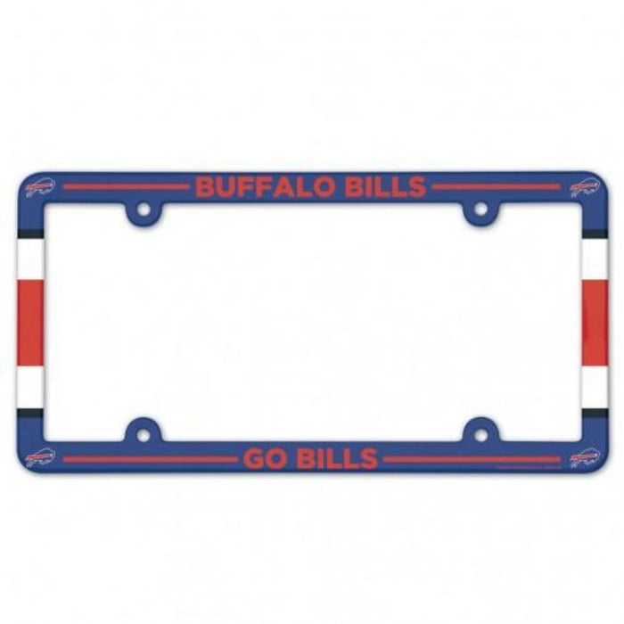 license plate frame in full red, white, and blue colors and bills logos