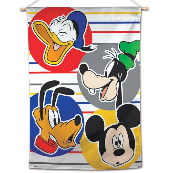 banner flag with donald duck. goofy, pluto, and mickey mouse