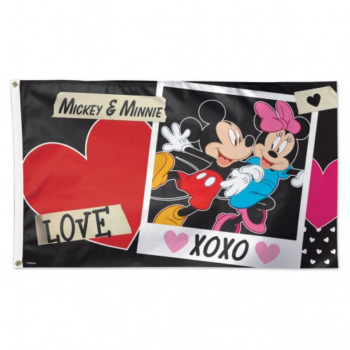 3x5' Mickey & Minnie XOXO Polyester Flag