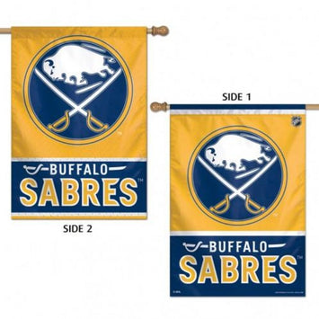 double sided buffalo sabres flag with the sabres logo on a yellow background and text saying
