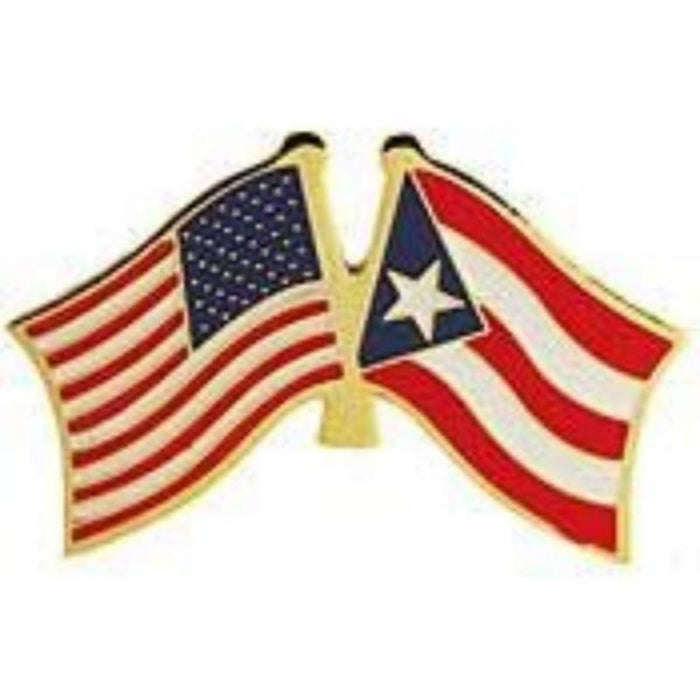 USA/PUERTO RICO DUAL FLAGS LAPEL PIN