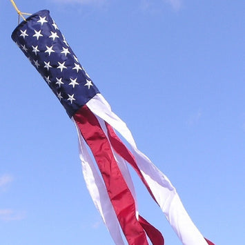 U.S. Flag Windsock with Embroidered Stars and Six Sewn Stripes Nyl-Glo- 5 in. X 36 in.