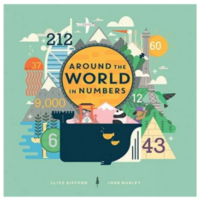 "BOOK COVER THAT SAYS ""AROUND THE WORLD IN NUMBERS"" WITH VARIOUS LANDMARKS IN THE BACKGROUND"