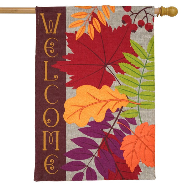 autumn leaves welcome burlap flag