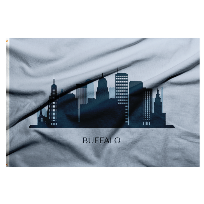 SKY BLUE FLAG WITH A CITYSCAPE IN THE CENTER AND THE WORD