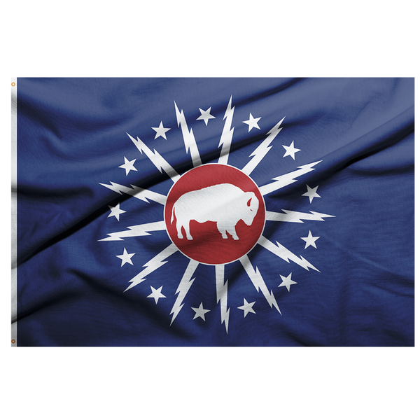 CLASSIC CITY OF BUFFALO FLAG WITH A RED CETNER AND A WHITE STANDING BUFFALO