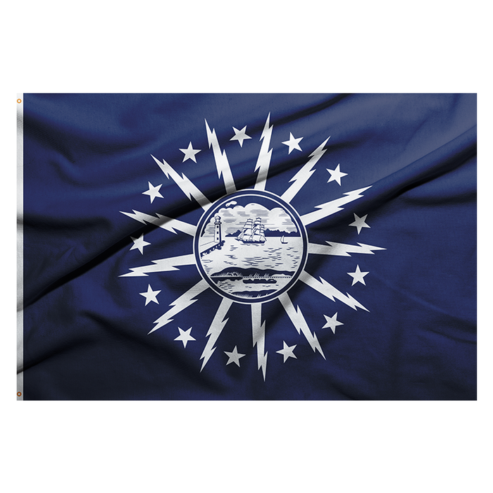 BLUE FLAG WITH A SHORE AND LIGHTHOUSE IN THE CENTER WITH LIGHTNING BOLTS AROUND THE CENTER