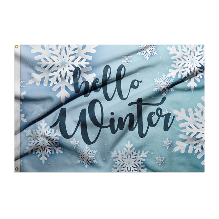 snowflakes on light blue background winter welcome polyester flag for flagpole