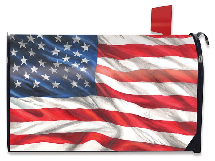 American Flag Waving Mailbox Cover