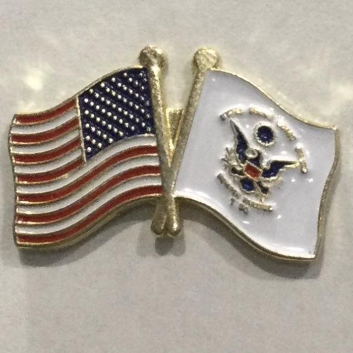 US COAST GUARD crossed DUAL FLAGS LAPEL PIN (SML)
