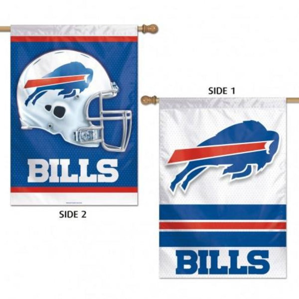 side 2 has a white helmet on a blue background and side 1 has the bills logo with a white background