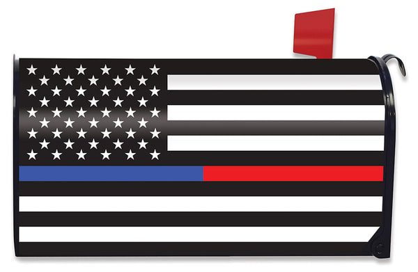 Thin Blue & Red Line Mailbox Cover