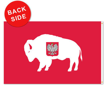 rendition of the polish flag with a red background, white buffalo, and crest in the center