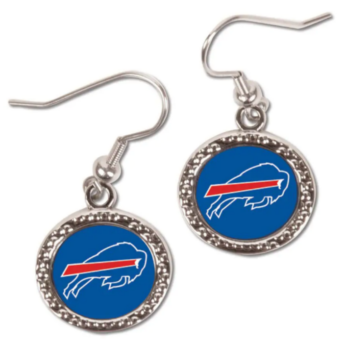 silver earrings with the bills logo in the center