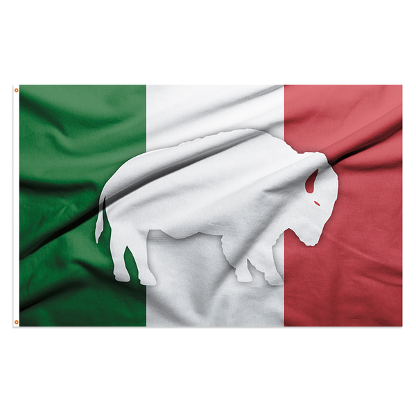 italian tricolor flag with buffalo silhouette in the center