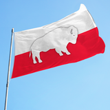 traditional polish flag with silhouetted buffalo in the center