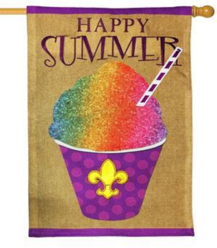 multicolored fleur de lis snowcone flag that says
