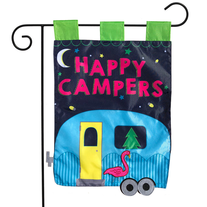 Happy Camper Applique Garden Flag