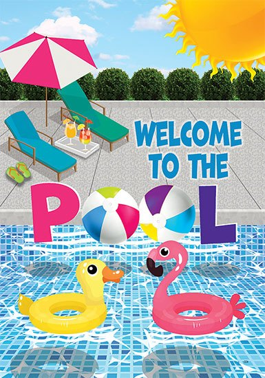 WELCOME TO THE POOL DECORATIVE FLAGS