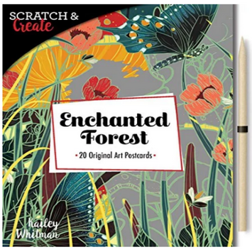 BOOK COVER WITH A FLORAL BACKGROUND AND ETCHING STYLUS PICTURED SEPARATELY