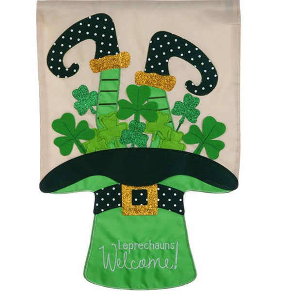 Leprechauns Welcome Applique Banner Flag