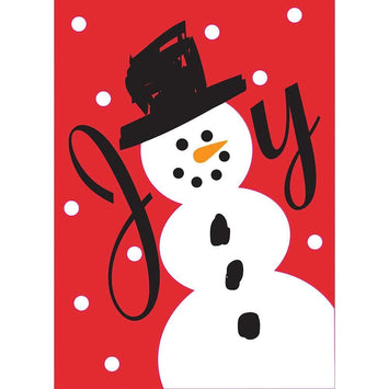 CHRISTMAS JOY SNOWMAN APPLIQUE GARDEN FLAG