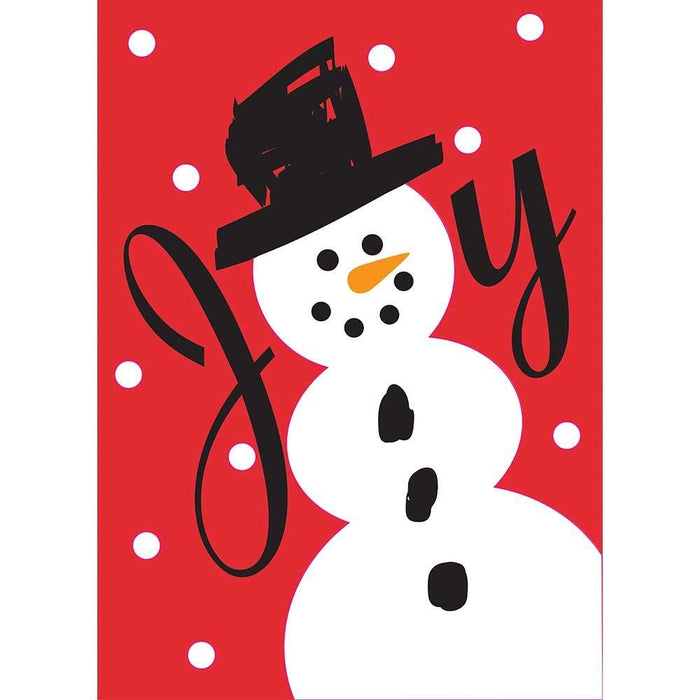 Joy Snowman Applique Garden Flag