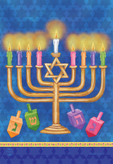 Happy Hanukkah Menorah Garden Flag
