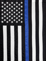 black and white american flag with a single blue stripe down the center