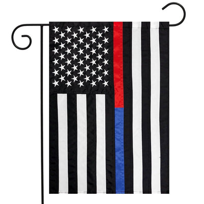 Thin Red & Blue Support Appliqued Polyester Flag