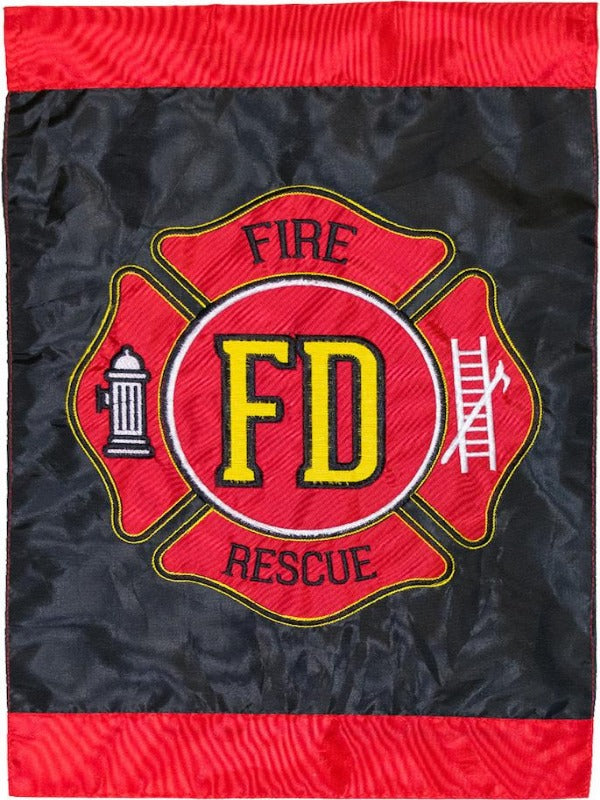 red and black flag with the fire department logo in the center